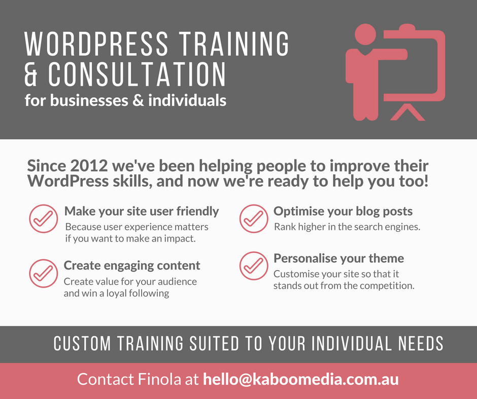 Custom WordPress training and consultation with Kaboo Media
